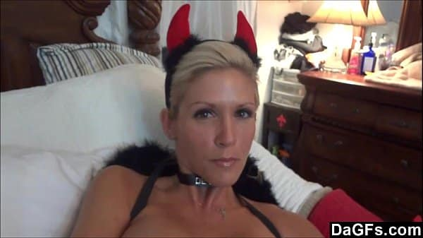 My wife tries her new demon costum and feels horny